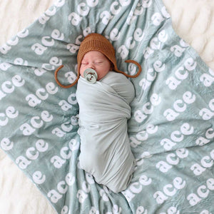 solid sage swaddle blanket stretchy bamboo