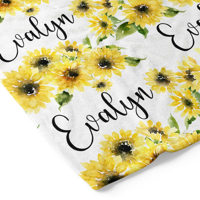 Savannah's Sunflowers Personalized Toddler Blanket