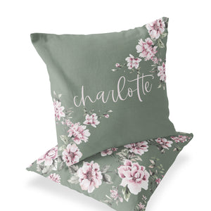 Saylor's Sage & Blush Floral Custom Personalized Pillow