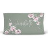 Saylor's Sage & Blush Floral Personalized Changing Pad Cover