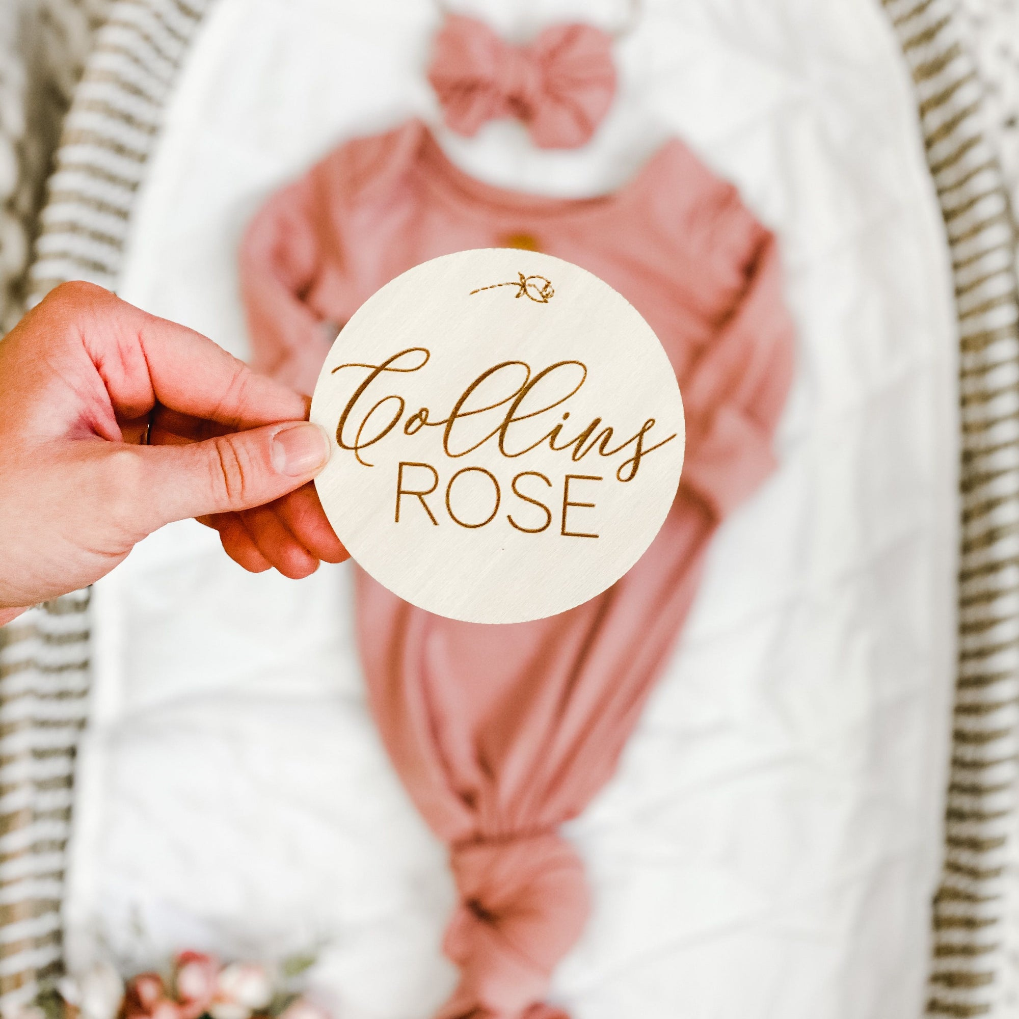 Newborn Announcement Sign Pregnancy Announcement Plaque Engraved Baby Name Sign Floral Wood Name Sign Baby Name Newborn Name Tag