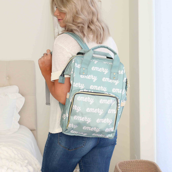 aqua blue personalized diaper bag with name