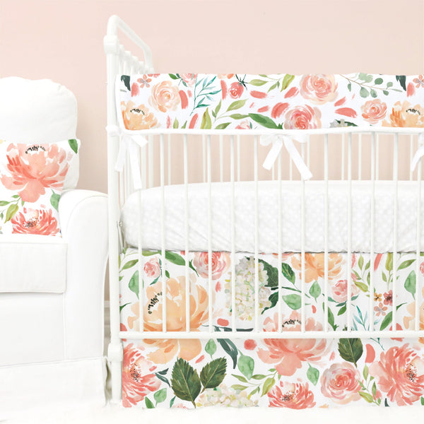 peach and coral watercolor floral garden bumperless crib bedding