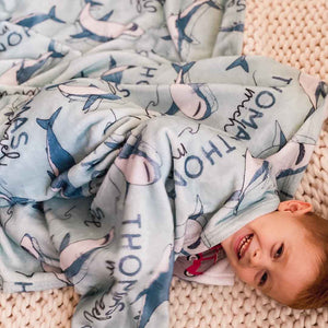 shark kids blanket personalized