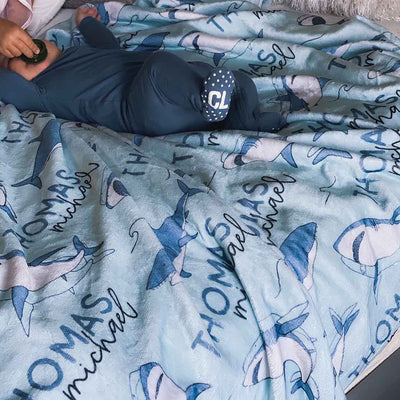 kid name blanket with sharks