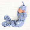 dusty blue leafy knot gown for newborn