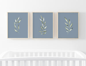 skye's dusty blue leaves digital wall art