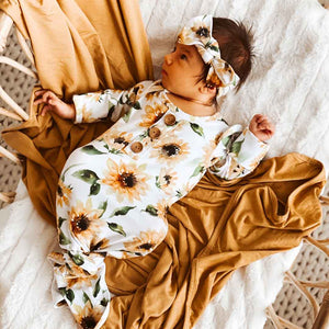 Savannah's Sunflowers Newborn Baby Knot Gown & Hat Set: