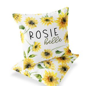 Savannah's Sunflowers Custom Name Throw Pillow