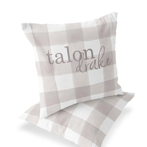 Talon's Taupe Plaid Custom Accent Pillow