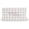 Talon's Taupe Plaid Personalized Changing Pad Cover