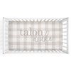 Talon's Taupe Plaid Personalized Crib Sheet