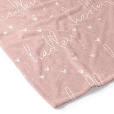 Tiny Hearts in Dusty Pink Personalized Toddler Blanket