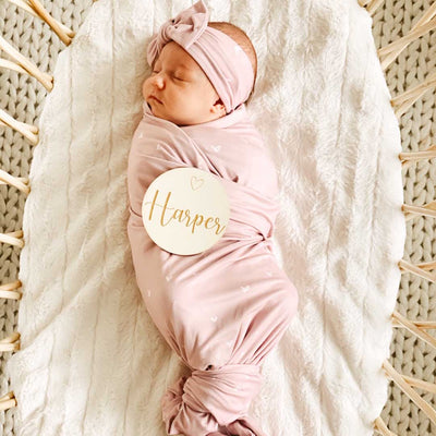 oversized mauve and hearts swaddle for newborn