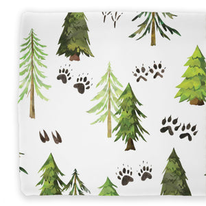 woodland trees and animal tracks printed cotton changing pad cover