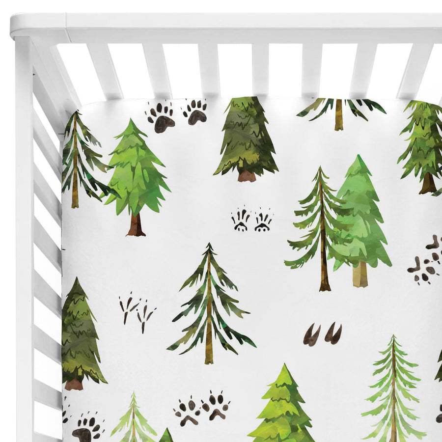 woodland forest trees and animal tracks baby bedding
