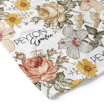 peyton's vintage floral personalized toddler blanket closeup