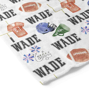 Football Fan Personalized Toddler Blanket