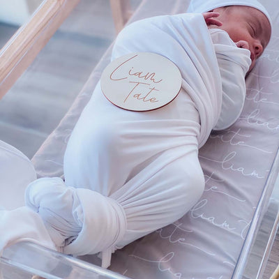 Personalized Stone Baby Name Swaddle Blanket - Script