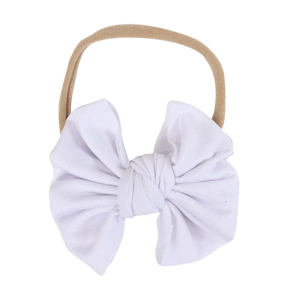 Solid White Knit Bow Headband
