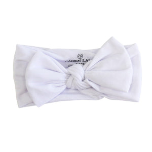 white stretchy newborn bow headwrap