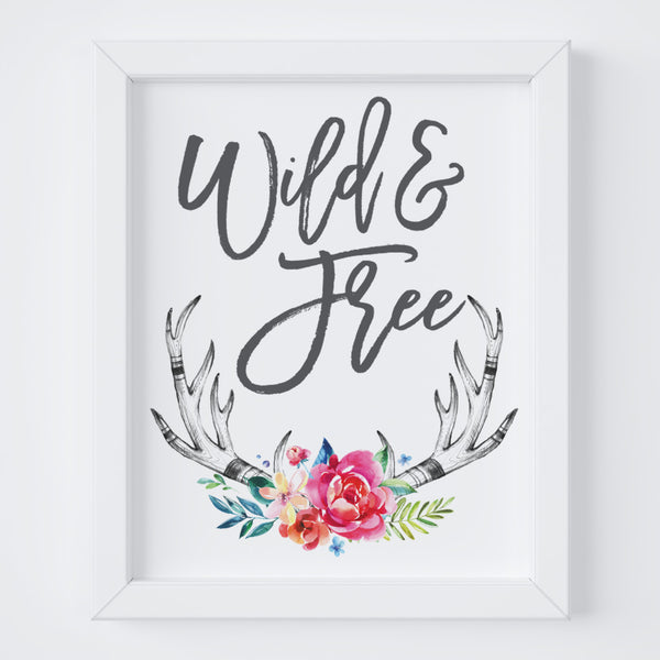 wild and free floral antler digital art print - boho baby girl wall art - floral art for the nursery