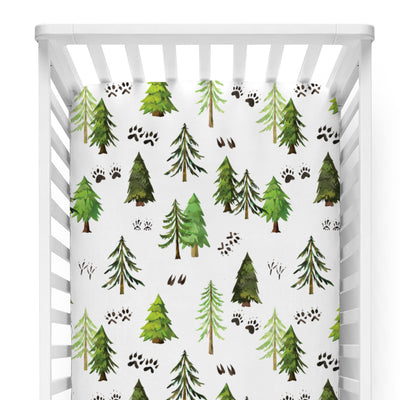 woodlands tree and animal track modern nursery crib sheet