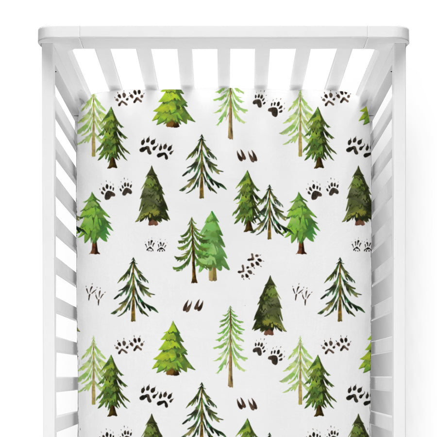 modern green and white forest tracks woodland crib sheet