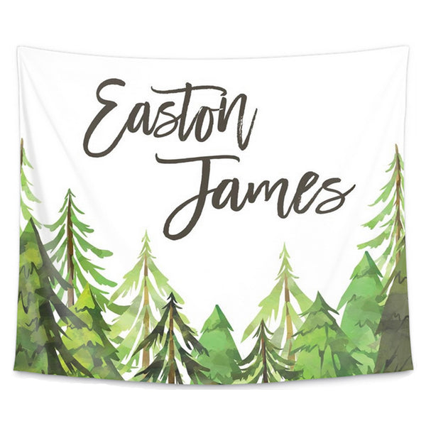 watercolor tree personalized nursery wall tapestry