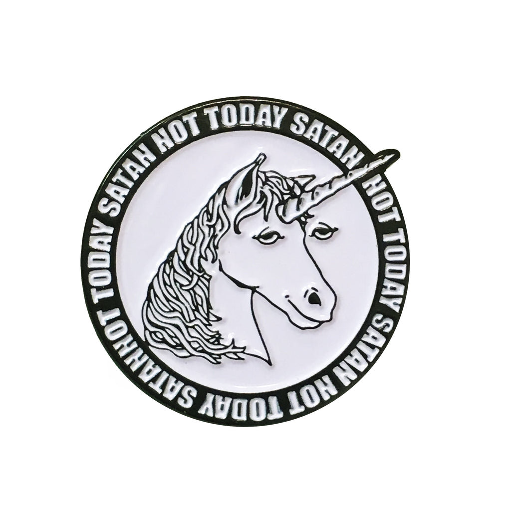 Not Today Satan Unicorn Pin