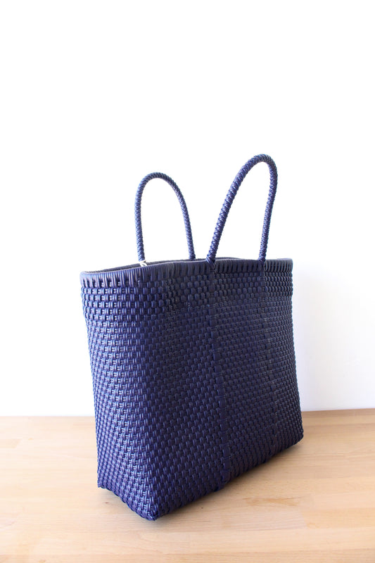 Navy Blue Mexican Woven Tote Bag
