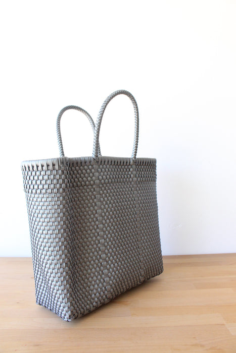 Silver Mexican Woven Tote Bag