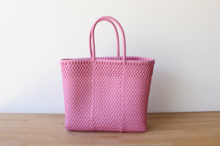 Pink Mexican Woven Tote Bag