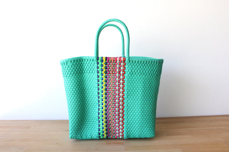 Aqua & Colors Mexican Woven Tote Bag