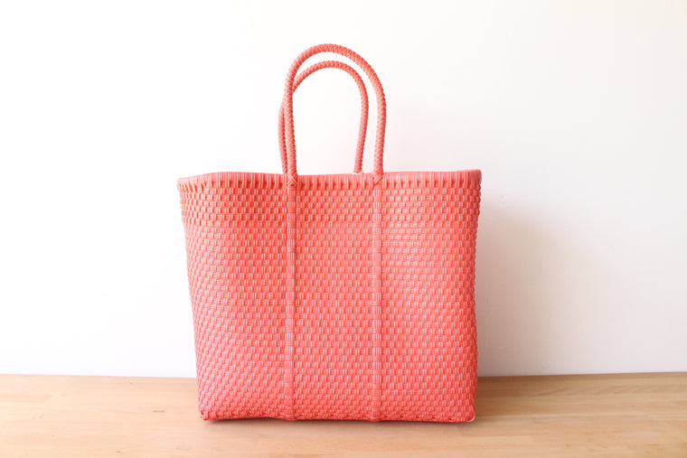 Coral Mexican Woven Tote Bag
