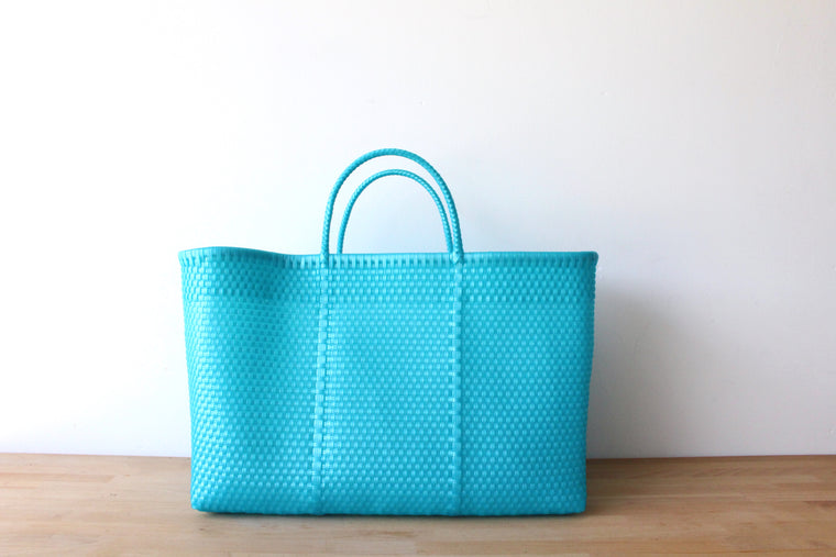 Ocean Blue Mexican Woven Tote Bag