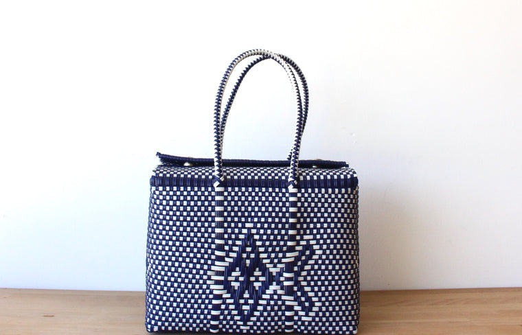 White & Navy Blue MexiMexi Handbag