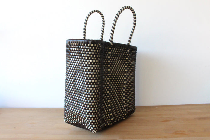 Brown & White Mexican Woven Tote Bag