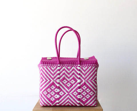 Fuchsia & White MexiMexi Handbag