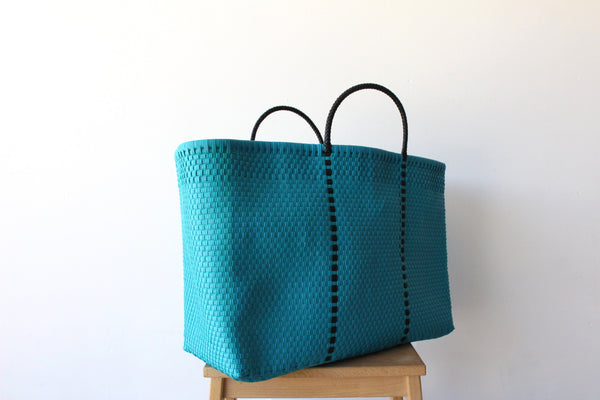 Ocean Blue Mexican Woven Tote Bag - Summer Collection