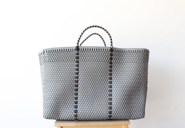 Silver Mexican Woven Tote Bag - Summer Collection