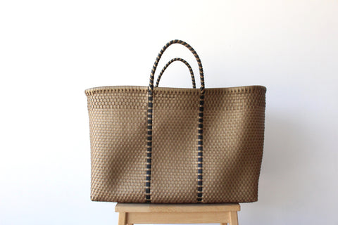 Gold Mexican Woven Tote Bag