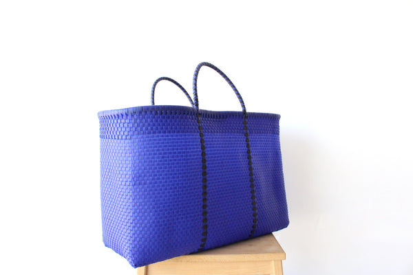 Royal Blue Mexican Woven Tote Bag