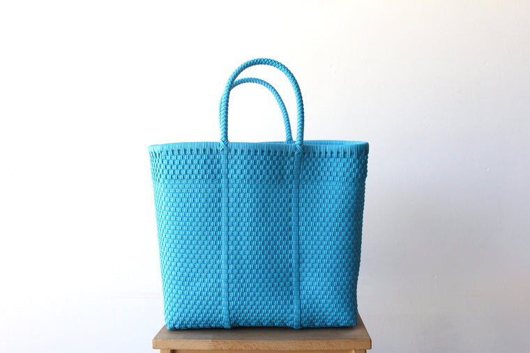 Light Blue Mexican Woven Tote Bag