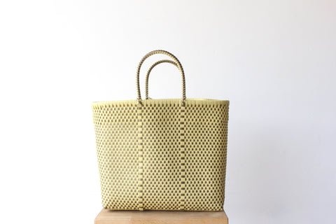 Beige & Gold Mexican Woven Tote Bag