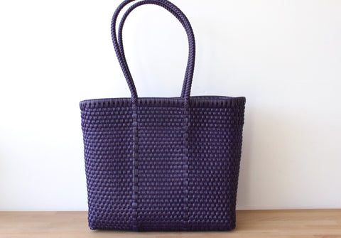 Purple Mexican Woven Tote Bag