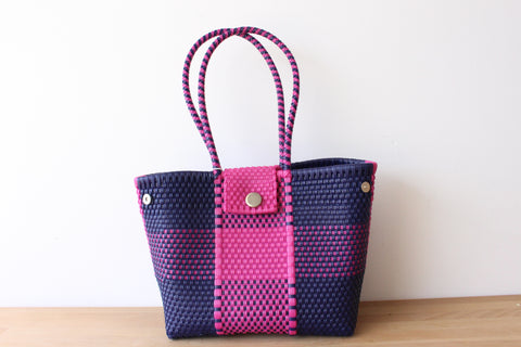 Blue & Hot Pink Mexican Woven Tote Bag