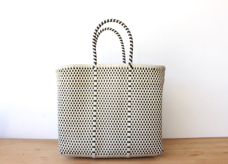 Beige & Brown Mexican Woven Tote Bag