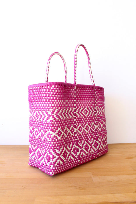 Hot Pink & White Mexican Woven Tote Bag