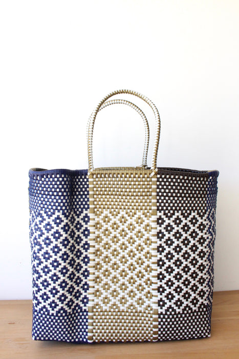 Blue, Gold & White Mexican Woven Tote Bag
